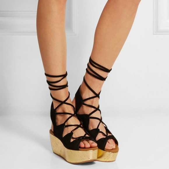 aaad433a264 See by Chloe Lilly Wedge Lace Up Sandals Gold Cork.  M 5a92f10250687cfc93e7a60b